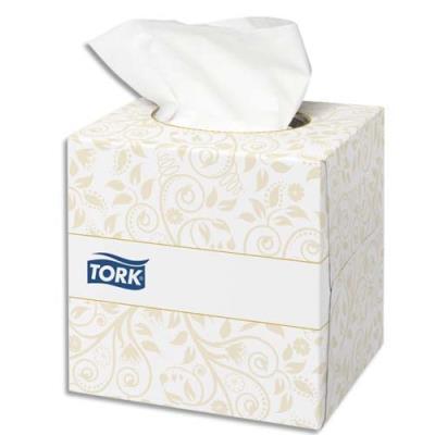 Mouchoirs Tork - 2 plis - ouate extra douche blanche - boîte cube de 100 (photo)