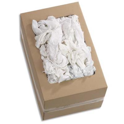 Chiffon blanc 100% coton type tricot - très absorbant et non pelucheux - 10 kg (environ 120 chiffons) (photo)