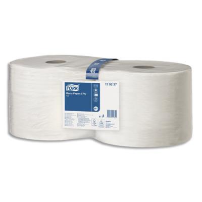 Lot de 2 bobines d'essuyage blanches Tork - 800 formats prédécoupés - 240 mètres - 30 x 21 cm
