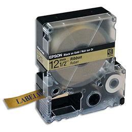 Cassette Epson LC-4KBK9 C53S654002 - 12 mm x 5 m - ruban satin noir sur doré (photo)