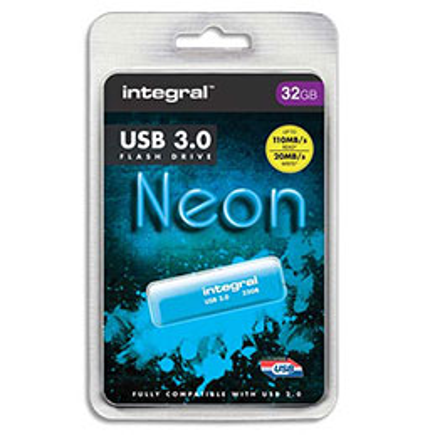 Clé USB 3.0 Néon - 32 Go - bleu (photo)