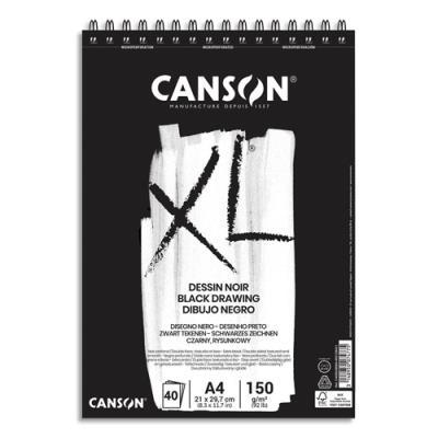 Bloc de 40 feuilles de papier dessin noir Canson XL Dessin Noir - 150g - A4 - 1 face lisse 1 face grainée (photo)