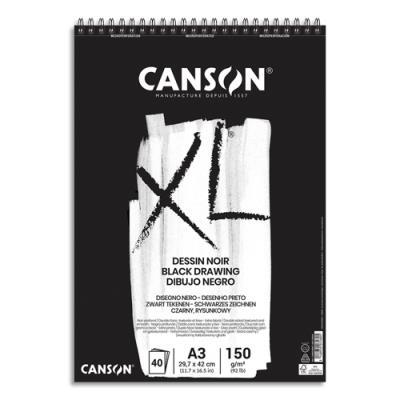 Bloc de 40 feuilles de papier dessin noir Canson XL Dessin Noir - 150g - A3 - 1 face lisse 1 face grainée (photo)