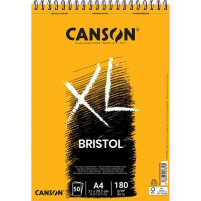 Bloc de 50 feuilles de papier dessin Canson XL Bristol - papier extra blanc et très lisse  - 180g - A4 (photo)