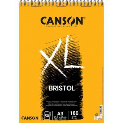 Bloc de 50 feuilles de papier dessin Canson XL Bristol - papier extra blanc et très lisse  - 180g - A3 (photo)