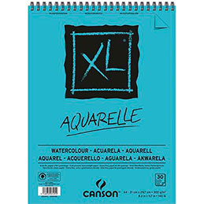 Bloc de 30 feuilles de papier dessin Canson XL Aquarelle - papier blanc sans acide- grain fin  - 300g - A4 (photo)
