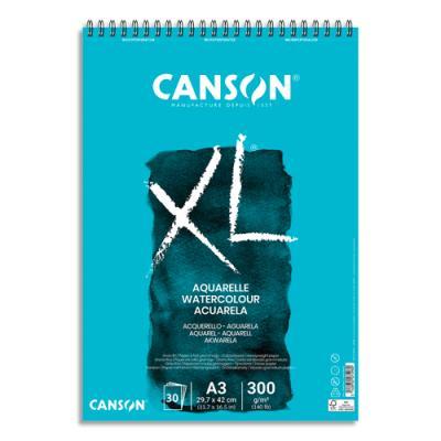 Bloc de 30 feuilles de papier dessin Canson XL Aquarelle - papier blanc sans acide- grain fin  - 300g - A3 (photo)