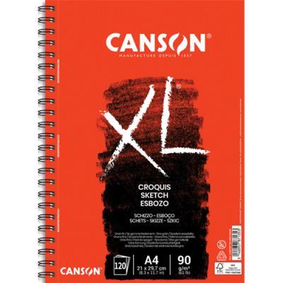 Bloc de 120 feuilles de papier dessin Canson Croquis XL - spirale -  90g - A4 (photo)