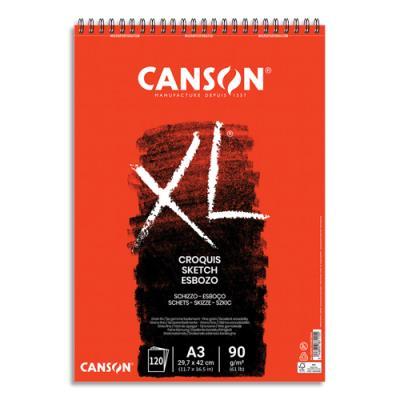 Bloc de 120 feuilles de papier dessin Canson Croquis XL - spirale -  90g - A3 (photo)