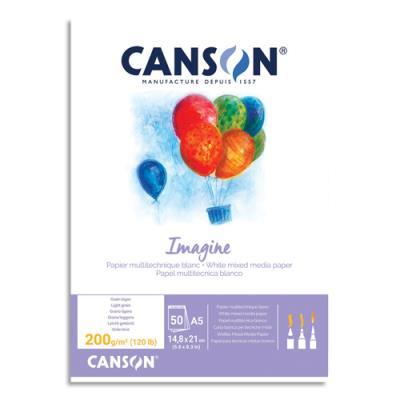 Bloc de 50 feuilles de papier dessin Canson Imagine - 200g - A5 - blanc (photo)