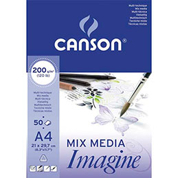 Bloc de 50 feuilles de papier dessin Canson Imagine - 200g - A4 - blanc (photo)