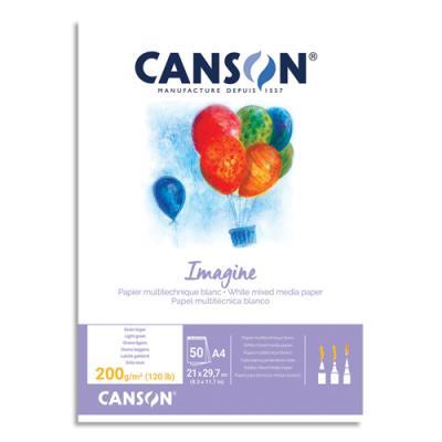 Bloc de 50feuilles de papier dessin Canson Imagine - 200g - A4 - blanc (photo)