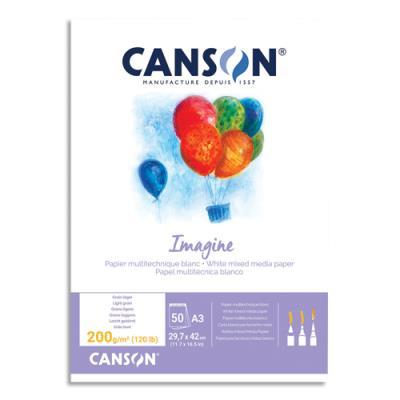 Bloc de 50 feuilles de papier dessin Canson Imagine - 200g - A3 - blanc (photo)