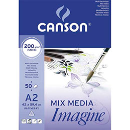 Bloc de 50 feuilles de papier dessin Canson Imagine - 200g - A2 - blanc (photo)