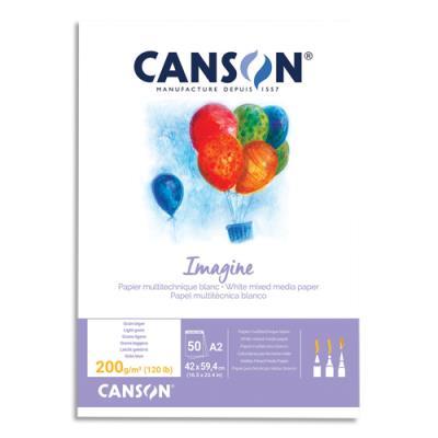 Bloc de 50 feuilles de papier dessin Canson Imagine - 200g - A2 - blanc (photo)