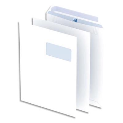 Pochettes blanches auto-adhésives Oxford - 100g - format C4 - 229x324 mm - avec fenêtre 55x100 mm - boîte de250