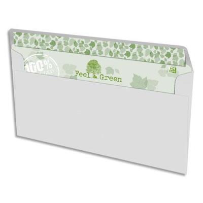 Enveloppes 100% recyclées 110x220 Oxford - blanches - auto-adhésive - 90g - boîte de 500 (photo)