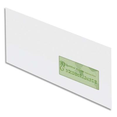 Enveloppes 100% recyclées 110x220 Oxford - blanches - fenêtre 45x100 - auto-adhésive - 90g - boîte de 500 (photo)