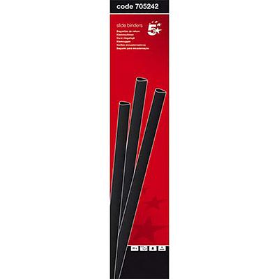 Baguettes à relier manuelle 5 Etoiles - 6 mm/60 feuilles - noir - boîte de 25 (photo)