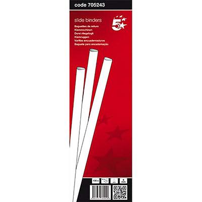 Baguettes à relier manuelle 5 Etoiles - 6 mm/60 feuilles - blanc - boîte de 100 (photo)