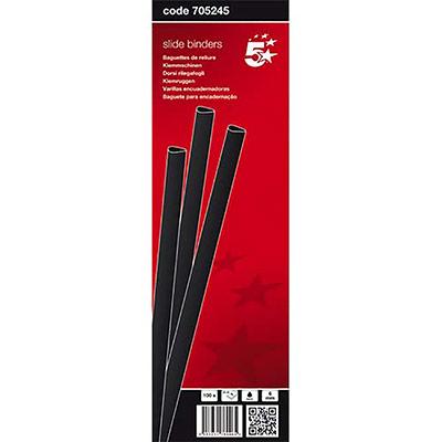 Baguettes à relier manuelle 5 Etoiles - 6 mm/60 feuilles - noir - boîte de 100 (photo)