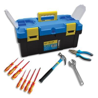 Malette outils plastique - 10 outils inclus : pince coupante, marteau, clé à molette, 7 tournevis (photo)