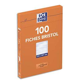 Boîte de 100 fiches bristol Oxford perforées - 21 x 29,7 cm - petits carreaux - blanc (photo)
