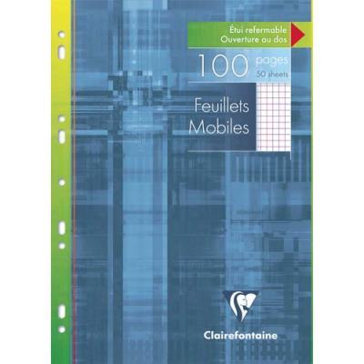 Feuillets mobiles perforés Clairefontaine - A4 - petits carreaux - blanc - avec marge - 90g - étui de 100 pages