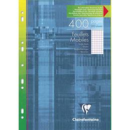 Feuillets mobiles perforés Clairefontaine - A4 - blanc - petits carreaux - avec marge - 90g - étui de 400 feuilles