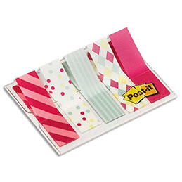 Blister de 100 marque-pages étroits souples Post-It - 1,2 x 4,3 cm - motifs carnaval (photo)