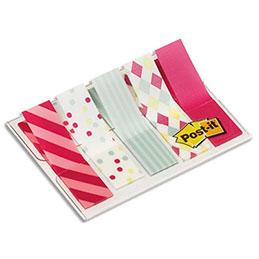 Blister de 100 marque-pages étroits souples Post-It - 1,2 x 4,3 cm - motifs carnaval (photo)
