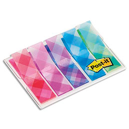 Blister de 100 marque-pages étroits souples Post-It - 1,2 x 4,3 cm - motifs vichy (photo)