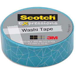 Ruban masking tape Scotch Expressions - 15 mm x 10 m - bleu écaille (photo)