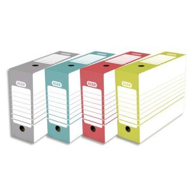 Boîte à archives en carton Elba - dos 10 cm - montage automatique - pour archivage à long terme - coloris assortis