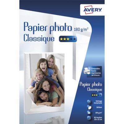 Papier photo brillant Avery - 10x15cm - jet d'encre - 180 g - 80 feuilles (photo)