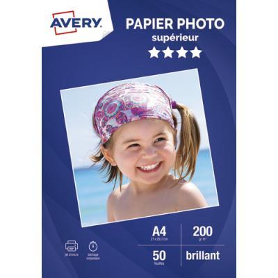 Papier photo Avery - brillant - A4 - jet d'encre - 200g - 50 feuilles (photo)