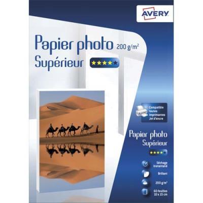 Papier photo brillant Avery - 10x15cm - jet d'encre - 200 g - 60 feuilles (photo)