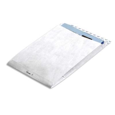 Pochettes blanches Bong à soufflet - polyéthylène haute densité - 25 x 35,3 x 3,8 cm - boîte de 100 (photo)