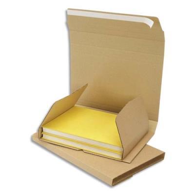 Etui d'expédition en carton brun - fermeture adhésive - 24 x 18 x 1 à 6 cm (photo)