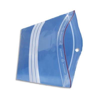 Sachets transparents avec bandes blanches de marquage - 23 x 32 cm - fermeture rapide - épaisseur 60 microns - lot de 1000 (photo)