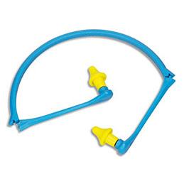 Bouchons d'oreilles mousse polyuréthane reliés par un arceau pliable polypropylène - jaune bleu (photo)
