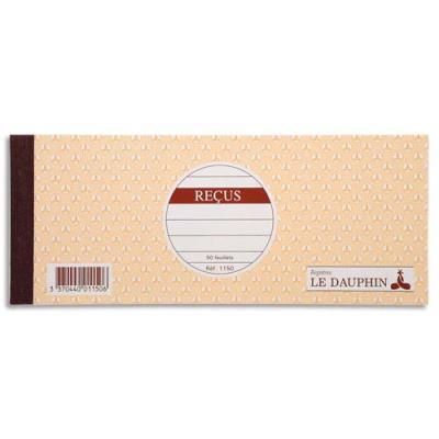 Carnet à souche de reçus Le Dauphin - 9 x 23 cm - 50 feuillets 10 colonnes (photo)