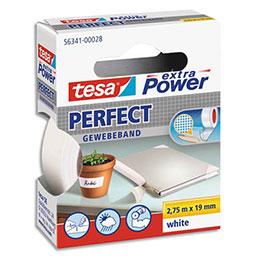 Adhésif super résistant Tesa Extra Power Perfect - pour réparations précises et conditions extrêmes - 2,7 5m x 19 mm - blanc (photo)