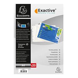 Pochette recharge pour classeur Exacompta Exashow - polypropylène - A4 paysage - perforations petit côté - lot de 20 (photo)