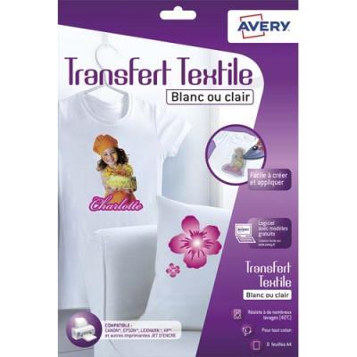 Feuilles de transferts Avery pour T-shirt blanc ou clair - boîte de 8 feuilles (photo)