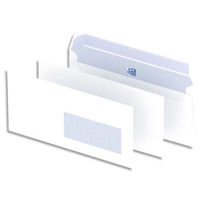 Enveloppes 110x220 Oxford - fenêtre 45x100 - blanches - auto-adhésives - 90g - boîte de 500