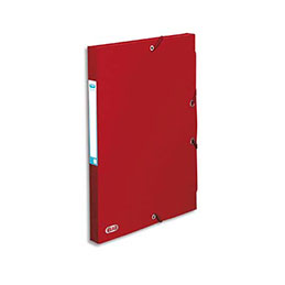 Boîte de classement à élastiques Elba Boston - en carte lustrée 7/10e - dos 2,5 cm - rouge (photo)