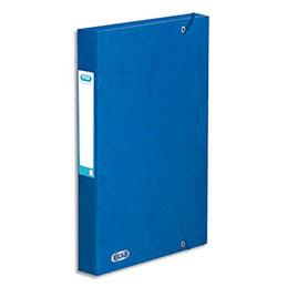 Boîte de classement à élastiques Elba Boston - en carte lustrée 7/10e - dos 3,5 cm - bleu