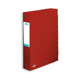 Boîte de classement à élastiques Elba Boston - en carte lustrée 7/10e - dos 6 cm - rouge