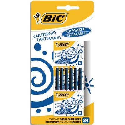 Cartouche Bic pour stylo plume - encre bleue - blister de 24 (photo)